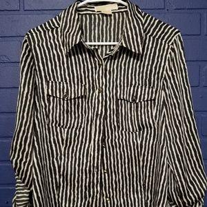 Michael Kors Black & White Buttoned Down Blouse